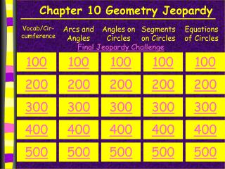 Chapter  10  Geometry Jeopardy