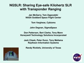 NGSLR: Sharing Eye-safe Kilohertz SLR with Transponder Ranging