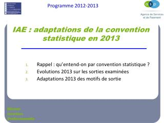 IAE : adaptations de la convention statistique en 2013