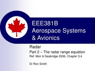EEE381B Aerospace Systems  & Avionics
