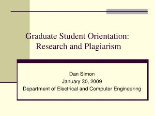 Graduate Student Orientation:  Research and Plagiarism
