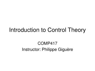 Introduction to Control Theory