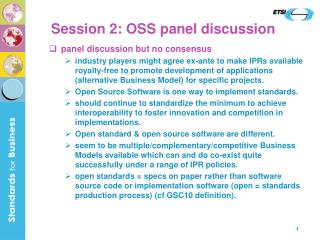Session 2: OSS panel discussion
