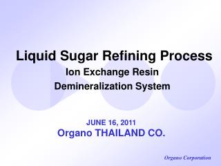 Liquid Sugar Refining Process Ion Exchange Resin Demineralization System