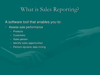 What is Sales Reporting?
