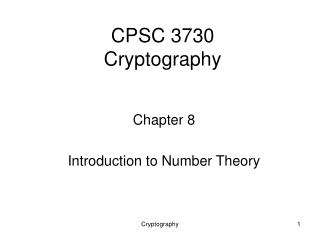 CPSC 3730  Cryptography