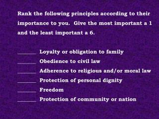 Rank the following principles according to their