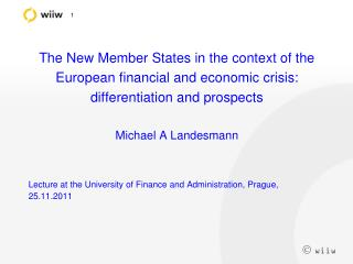 Lecture at the University of Finance and Administration, Prague, 25.11.2011
