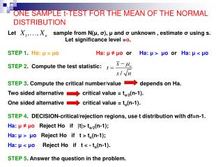 ONE SAMPLE t-TEST FOR THE MEAN OF THE NORMAL DISTRIBUTION