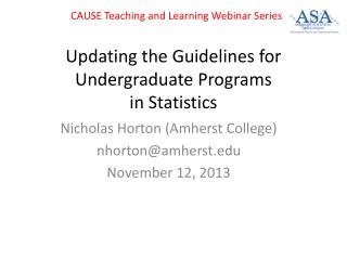 Updating the Guidelines for Undergraduate Programs in Statistics