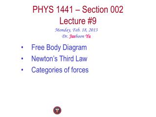 PHYS  1441  – Section  002 Lecture  #9