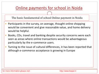 some knowlegde about online payment for school in Noida