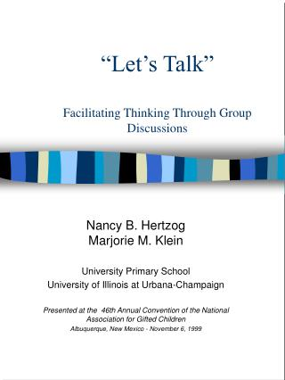 """Let's Talk"" Facilitating Thinking Through Group Discussions"