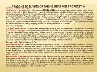 Reasons To Buying Or Taking Rent For Property In Mumbai