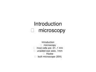Introduction 􀁡microscopy