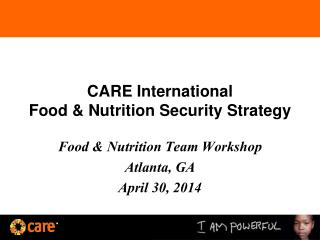 CARE International Food & Nutrition Security Strategy