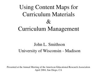 Using Content Maps for  Curriculum Materials  Curriculum Management