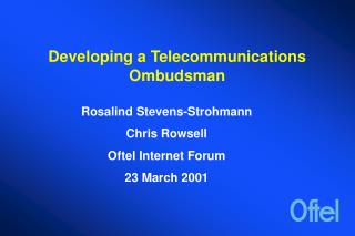 Developing a Telecommunications Ombudsman