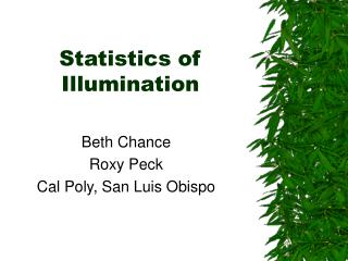 Statistics of Illumination