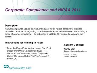 Corporate Compliance and HIPAA 2011