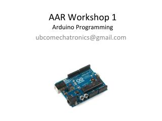 AAR Workshop 1 Arduino  Programming