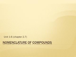 Nomenclature  of compounds