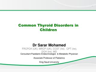 Common Thyroid Disorders in Children