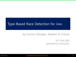 Type-Based Race Detection for J AVA