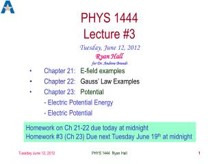 PHYS 1444 Lecture #3