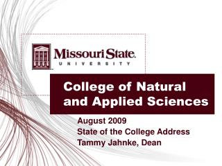 College of Natural and Applied Sciences