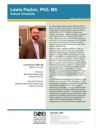 Lewis Payton, PhD, MS Auburn University