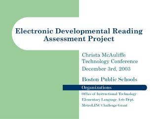 Electronic Developmental Reading  Assessment Project