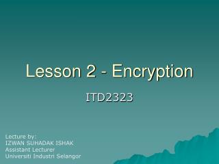 Lesson 2 - Encryption