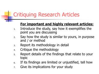 Critiquing Research Articles