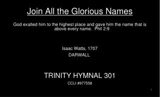 Join All the Glorious Names