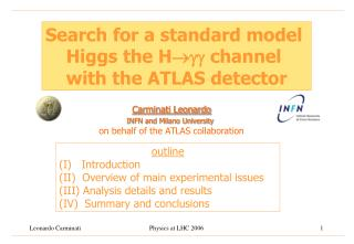 Search for a standard model  Higgs the H channel  with the ATLAS detector