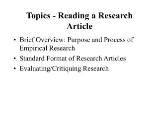 Topics - Reading a Research Article