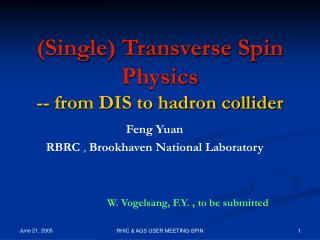 (Single) Transverse Spin Physics -- from DIS to hadron collider