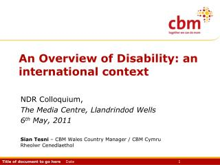 An Overview of Disability: an international context