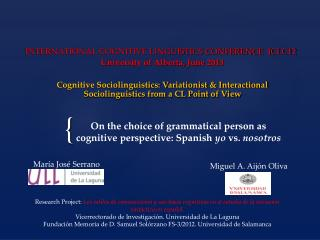 On the choice of grammatical person as cognitive perspective: Spanish  yo  vs.  nosotros