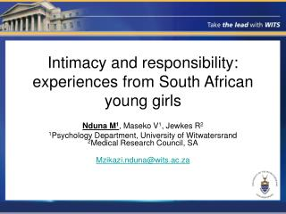 Intimacy and responsibility: experiences from South African young girls