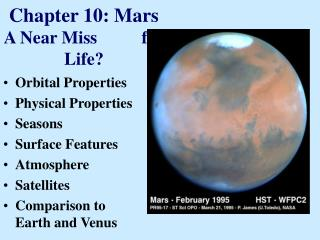 Chapter 10: Mars  A Near Miss          for Life?
