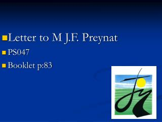 Letter to M J.F. Preynat  PS047 Booklet p:83