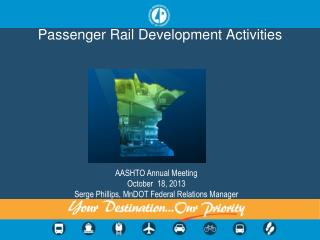 Passenger Rail Development Activities
