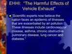 EHHI:   The Harmful Effects of Vehicle Exhaust