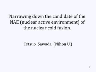 Narrowing down the candidate of the NAE (nuclear active environment) of the nuclear cold fusion.