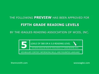 LEXILE OF 580 OR A 5.0 READING LEVEL