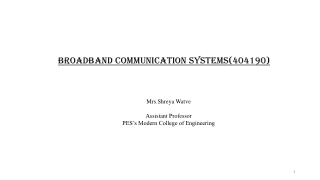 Broadband Communication Systems