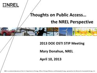 Thoughts on Public Access…                   the  NREL Perspective
