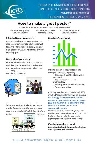 CICED 2014 poster session – paper n°CPxxxx  –  session n°xxx